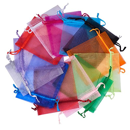 Pandahall 200Pcs 4x4.7 Inches Mixed Color Organza Gift Bags