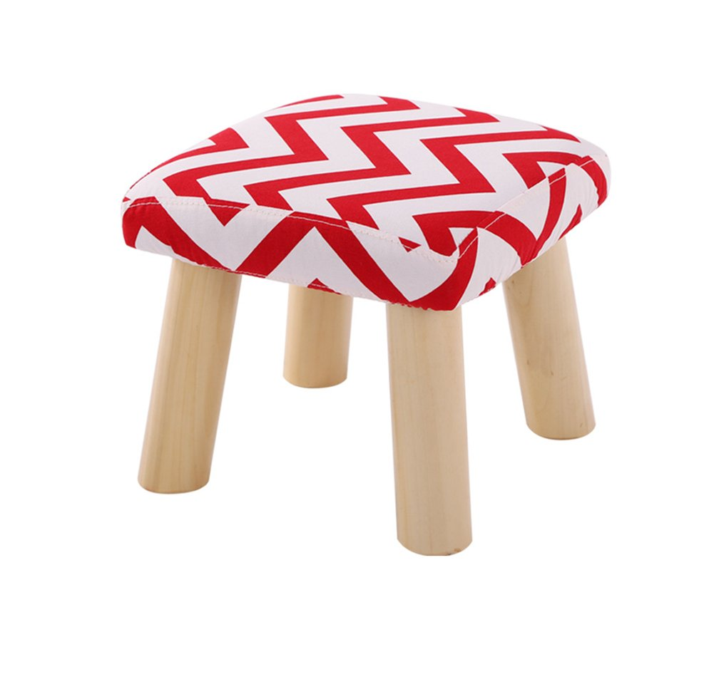 1 JCRNJSB® Sofa stool Solid wood Stool Cotton and linen Bench low stool shoes for shoes Cloth washable Household Square stool Removable round Short leg sofa stool Wooden benc (color    3)