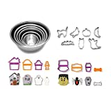 Halloween Baking Bundle, Set of 6 Stainless Steel Mixing Bowls and Halloween Cookie Cutters Including Frankenstein, Mummy, Ghost, Tombstone, Coffin, Spider, and Haunted House