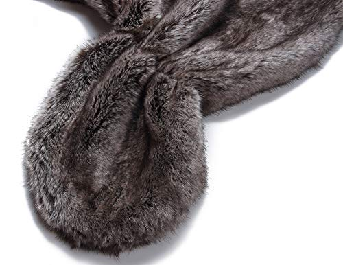 Caracilia Elegant Bridal Wedding Faux Fur Shawl Stole Wrap Shrug CA95 , Rabbit Fur Grey , Large by Caracilia (Image #5)