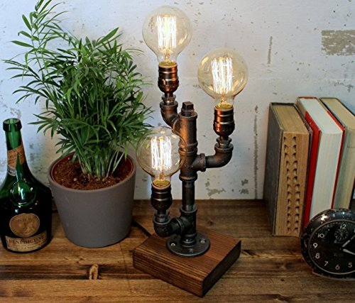 Oak Table Bases - Industrial Steampunk table pipe lamp with Globe Edison bulb and oak wood base