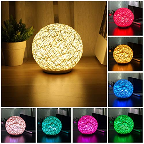 Globe Rattan Ball Bedside Table Lamp,5.9 inch 7 Colors Touch LED Nigth Light Perfect Gift for Kids Bedroom Living Room Office