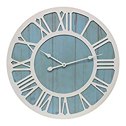 Growsun 24'' Large Wall Clock Solid Wood Decoration Clocks for Farmhouse Living Room Home Gift,Coastal Blue