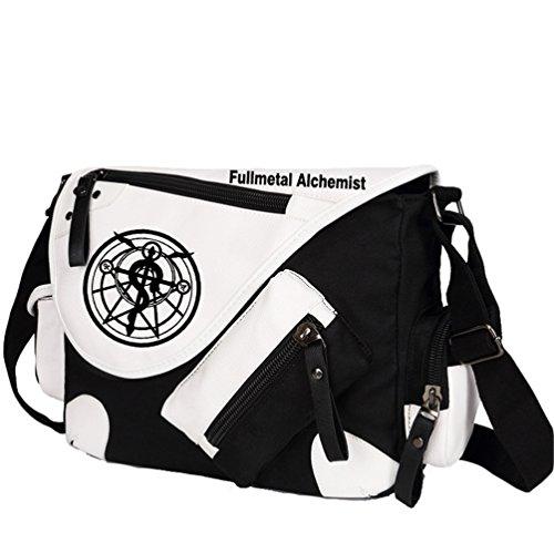 YOYOSHome Fullmetal Alchemist Anime Cosplay Backpack Messenger Bag Shoulder Bag (Black) - Metal Full Alchemist Bag Messenger