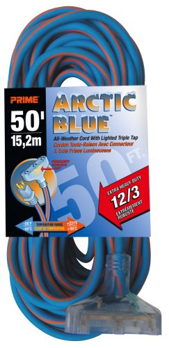 Prime LT630830 Ultra Heavy Duty 50-Foot Triple Tap Artic Blue All-Weather TPE Extension Cord