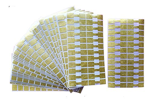 1000 pieces Jewelry Repair, Price and Indentification Tags/Tyvek Self Adhesive Rectangle/Dumbbell/Barbell Jewelry Price Tags (Rectangle - 44 x 12mm, (Bell Gold Stickers)