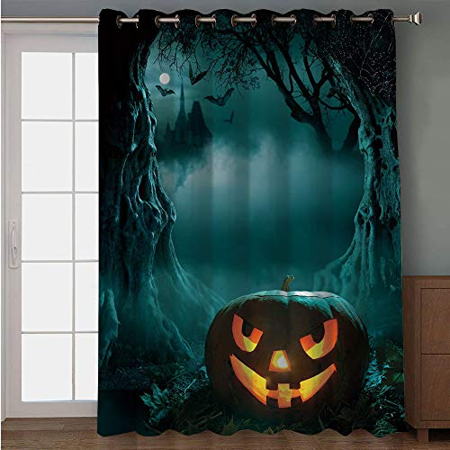 Blackout Patio Door Curtain,Halloween,Carved Pumpkin in Dark Misty Forest Ancient Trees Gloomy Scenic Horror Theme,Teal Orange,for Sliding & Patio Doors, 102