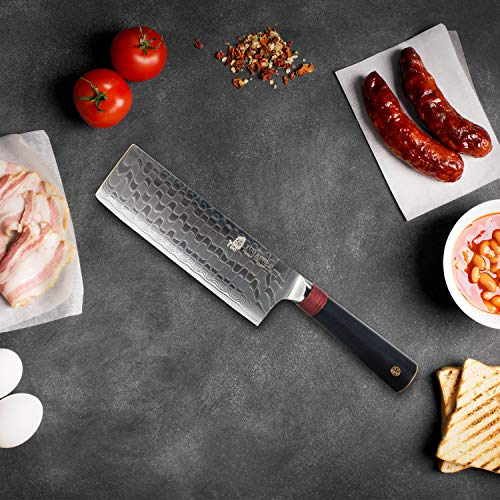 "TUO Cutlery Nakiri Knife 6.5"" - Damascus Vegetable Cleaver Kitchen Knives - Japanese AUS-10 High Carbon Stainless Steel Cutting Core Blade - Damascus Pattern - G10 Handle - Gift Box - Ring-D Series by TUO Cutlery (Image #2)"