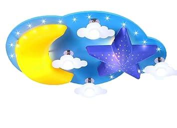 Deckenleuchte Mond Sterne Wolke LED Lampe Blau Kinderlampe ... | {Kinderzimmerlampe 65}