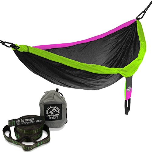 explore outfitters PRO Nylon Double Hammock Free Tree Straps (Gray/Purple/Green) -