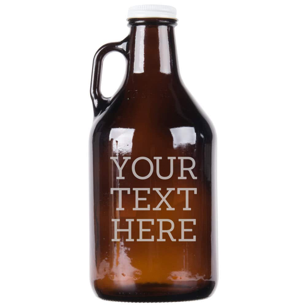 Personalized Etched Custom Message 32oz Amber Growler