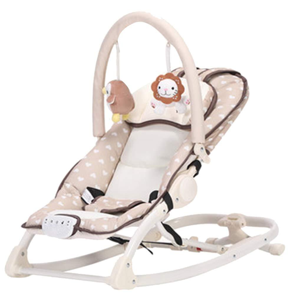 多機能ベビー揺れ椅子調節可能な背もたれ椅子音楽で遊ぶ取り外し可能なおもちゃスタンド自動リバウンド、アルミニウム合金、2色 (色 : B)  B B07J6GM593