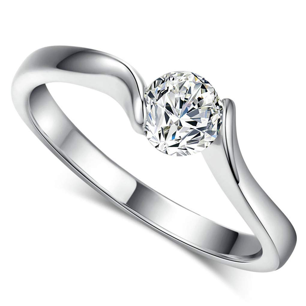 Women Wedding Ring Concise 4mm Round Cut Cubic Zirconia Gold Engagement Jewelry