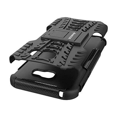AMZER Slim Protective Shockproof Heavy Duty Hybrid Warrior Dual Layer Case for Samsung Galaxy A7 2017 SM-A720F - Black