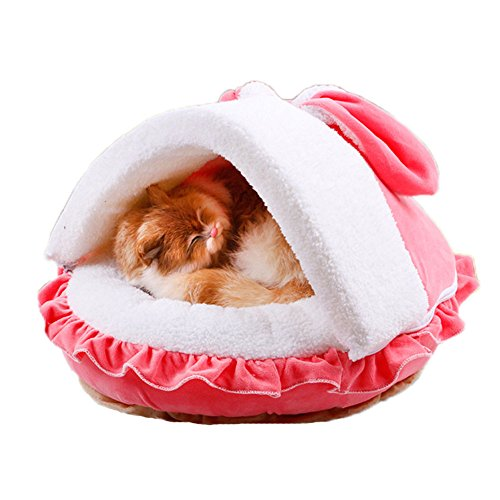 Saymequeen Cute Rabbit Ears Cat Pet Bed Cave Indoor Cushion Mat House for Small to Medium Size Dogs (L, pink)