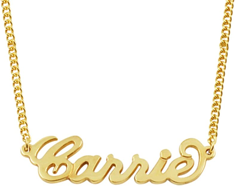 Amazon Com Any Personalized Name Necklace 18k Gold Over Brass Custom Made Any Name 14 Inches Chain Necklaces Clothing
