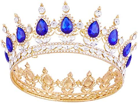 Crystal Rhinestone Crown Queen Bride Tiara for Women Girls Headdress Vintage
