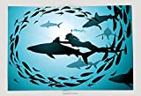 Supersoft Fleece Throw Blanket The Girl Floats Together With Flight Of Sharks And Among A Jamb Of Fishes 84659890