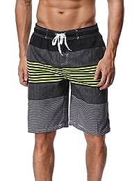 2eebb155aa SHEKINI Men's Board Shorts Swimwear Striped Swim Shorts Swimming Trunks  with Mesh Lining