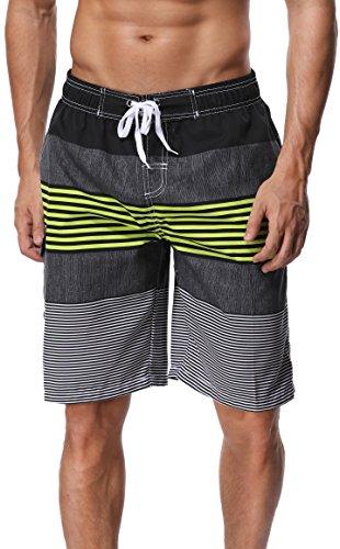 SHEKINI Men's Board Shorts Swimwear Striped Swim Shorts Swimming Trunks with Mesh Lining (Large (Waist:32