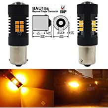2-Pack 1156PY 1056 BAU15S 7507 12496 PY21W Extremely Bright Amber / Yellow Non-Polarity LED Light 9-30V-DC, 2835 21 SMD Replacement For Turn signal Blinker Light Tail Stoplight Bulbs