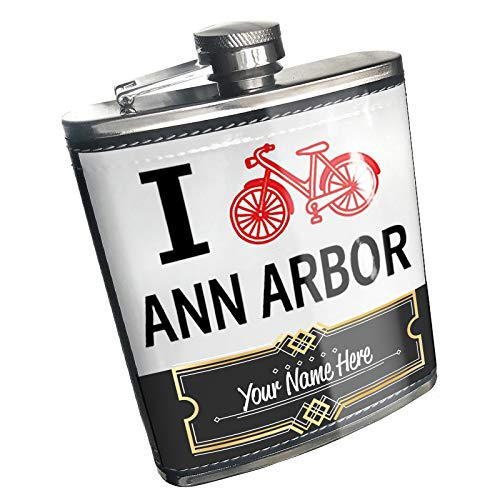 Neonblond Flask I Love Cycling City Ann Arbor Custom Name Stainless Steel