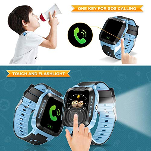 Hizek Smart Watch for Kids, GPS Tracker with SIM Calls Wireless Anti-Lost SOS Bracelet Children Girls Boys Holiday Birthday Gifts for iPhone Android Smartphone Blue by Hizek (Image #1)