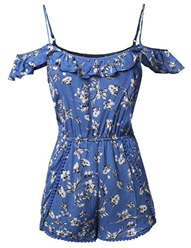 Summer Ruffle Off-Shoulder Strap Floral Print Romper Jumpsuit Denim Blue Size L
