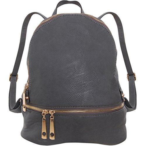 Humble Chic Vegan Leather Backpack Purse Small Fashion Travel School Bag Bookbag, Charcoal Grey, Dark Gray
