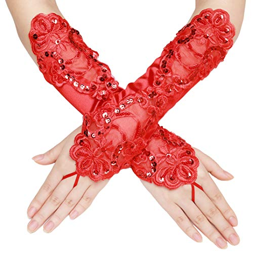 BABEYOND Long Opera Party 20s Satin Gloves Stretchy Adult Size Elbow Length (Short Fingerless-Red) -