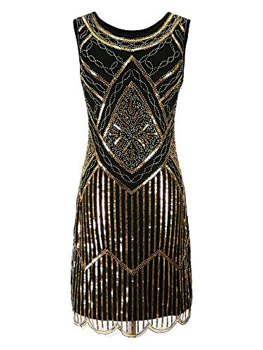 1920s Vintage Flapper Great Gatsby Party Dress Costume Sequin Sleeveless Sparkle Dark Gold