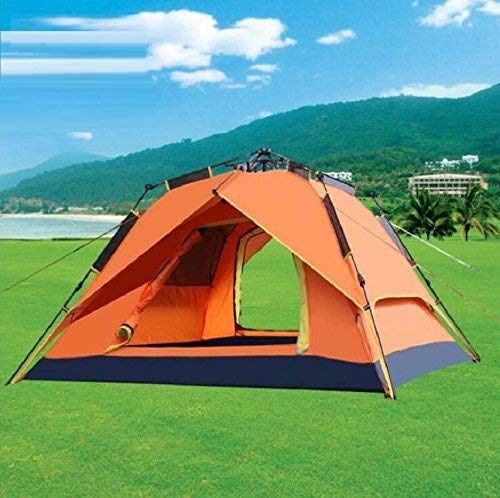 JIE Guo Outdoor Produkte Outdoor Luftdruck automatische Camping Zelte, Zelte, 3-4People Zelte, Camping lackiert Silber Plaid Wasserdichte Sonnencreme, Familie Camping Zelte 2764bb