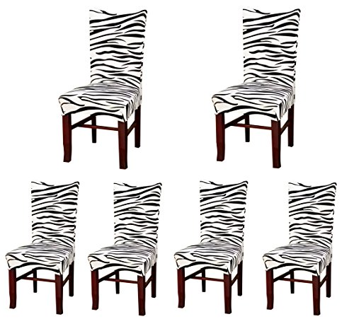 Deisy Dee Stretch Chair Cover Removable Washable for Hotel Dining Room Ceremony Chair Slipcovers Pack of 6 (B) (White And Black Zebra Chair)