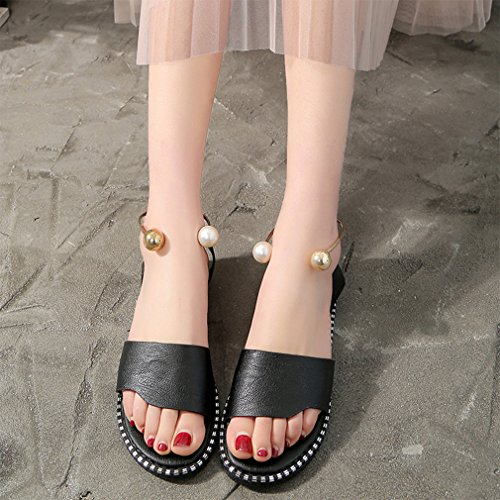summer decoración Jim sandals mujer Slide playa perla Negro puntera Flats de zapatos hebilla Agosto para abierta XanUq0gg