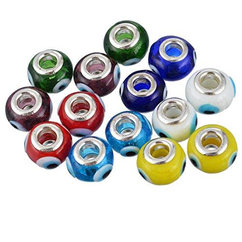 Souarts Mixte œil Perles Europeennes Intercalaires pour Bracelet Charm Breloque Multicolore Lot de 10pcs