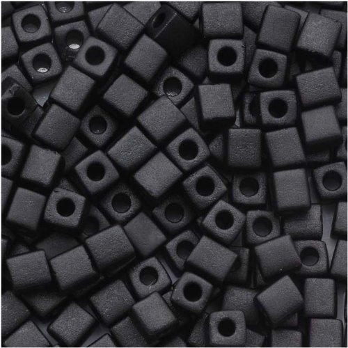 Miyuki 4mm Glass Cube Beads Matte Opaque Black #4011 10 Grams