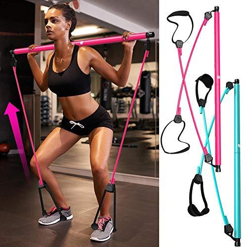 Kit de barre de Pilates avec bande de résistance, barre de Pilates d'exercice de yoga portable avec boucle de pied…