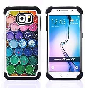 """Hypernova Híbrido Heavy Duty armadura cubierta silicona prueba golpes Funda caso resistente Para Samsung Galaxy S6 / SM-G920 [Colores del arco iris en colores pastel del cucharón""""]"""