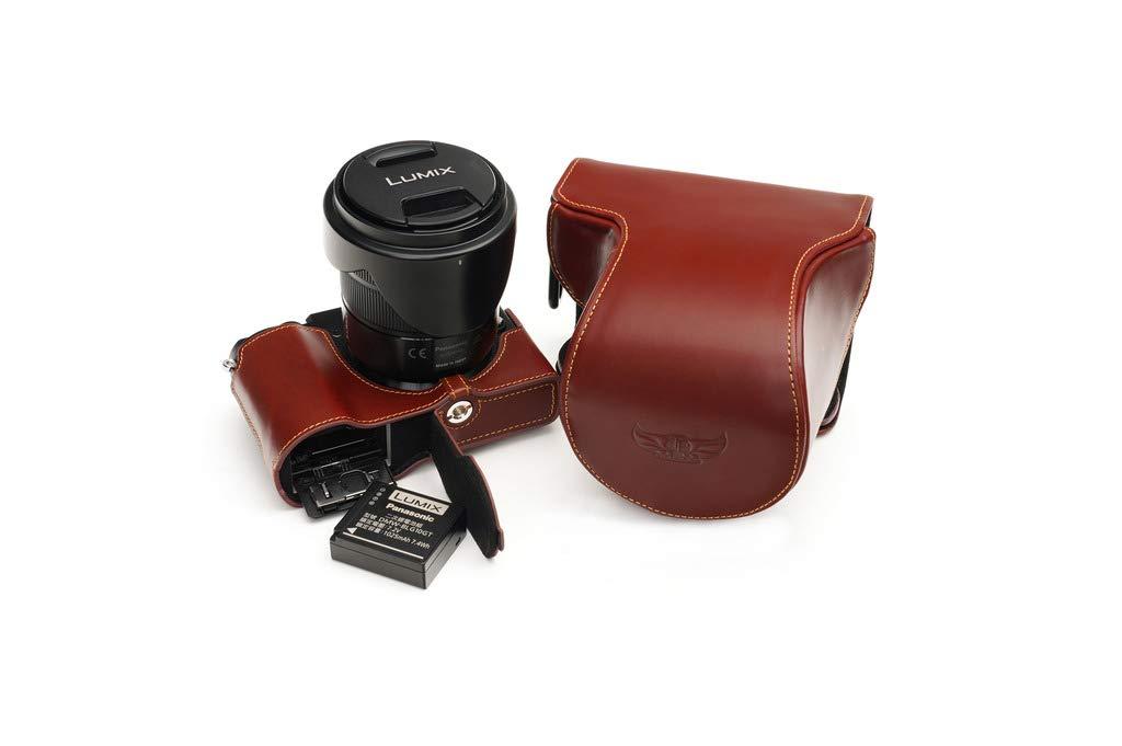 Fait Main v/éritable Cuir v/éritable Pleine Housse pour Appareil Photo pour Panasonic GX9 GX7 Mark III Couleur Noir