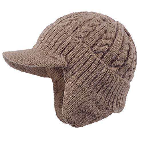 Original One Solid Visor Beanie with Ear Flap - Fall Winter Knit Cap with Billed - Fur Lined Trapper Brimmed Hat (Tan)