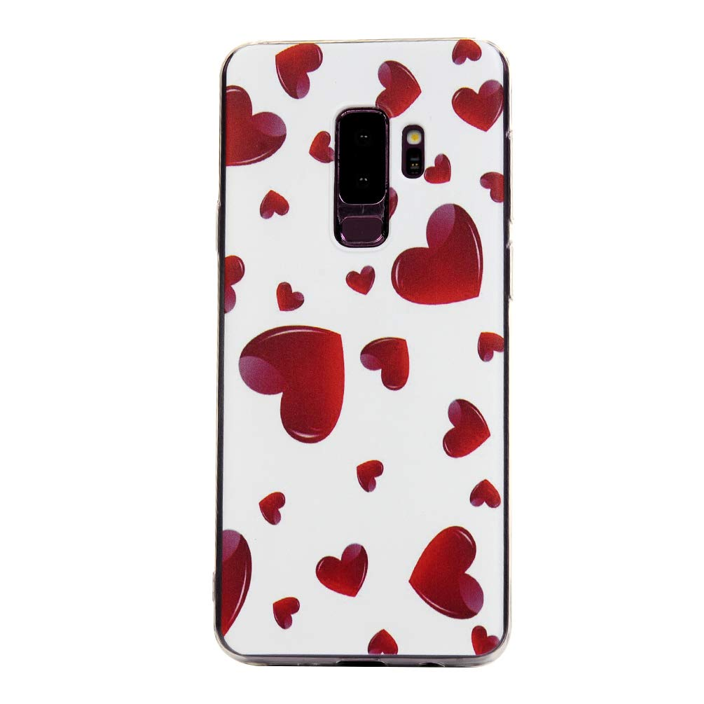 Galaxy S9 Plus Case, S9 Plus Cover Ultra Slim HD Clear & Full TPU Soft Shockproof Drop Pretective Skin Shell for Samsung Galaxy S9 Plus 2018 Version, Red Heart by SUPWALL (Image #4)