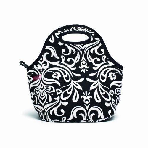 Built NY LB31-DBW Gourmet Getaway Lightweight Insulated Neoprene Lunch Tote Bag, Damask Black & White