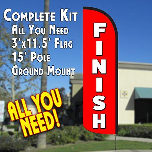 FINISH Windless Feather Banner Flag Kit (Flag, Pole, & Ground (Finish Flags)