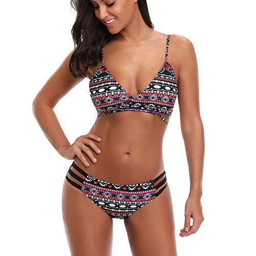 dd3f0741e44a1 MISYAA Bikini Exotic Geometic Bikini Bathing Suit LowWaist Swimsuit (Black,X-Large)