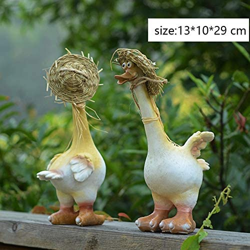 Cartoon Resin Garden Duck Sculpture2 Straw Hat Amusing Couple Duck Statue