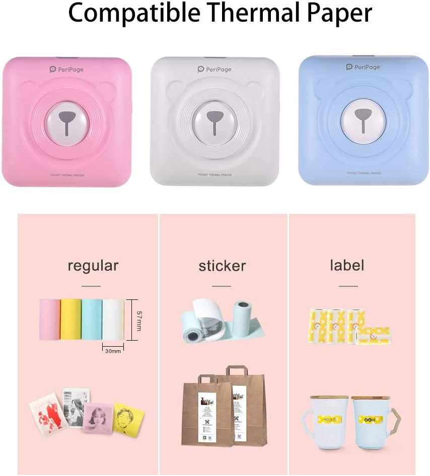 Aibecy GOOJPRT PeriPage Mini Pocket Wireless BT Thermal Printer Picture Photo Label Memo Receipt Paper Printer with USB Cable Support for Android iOS Smartphone Windows