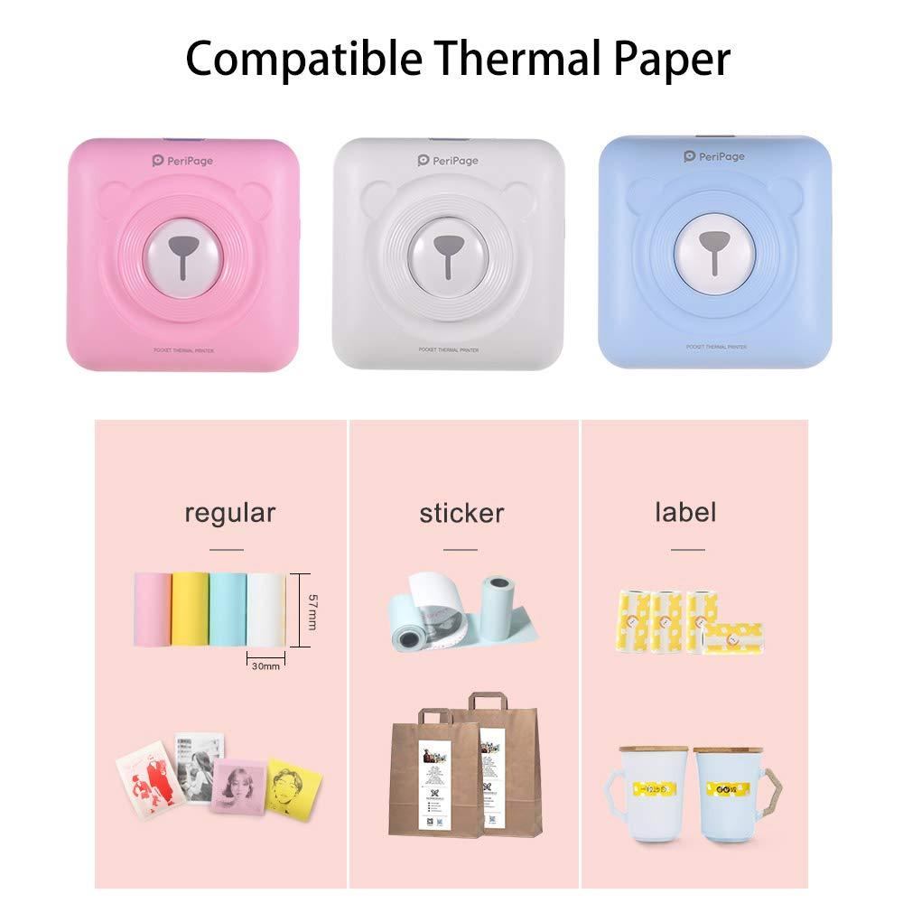 Aibecy GOOJPRT PeriPage Mini Thermodrucker Bild Fotodrucker Pocket drucker Mobiler Drucker mit USB-Kabel Unterst/ützung f/ür Android iOS Smartphone