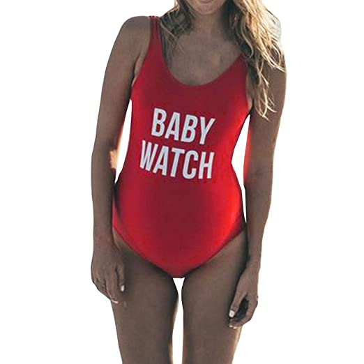 6f16b495ca Image Unavailable. Image not available for. Color: Ridkodg Women Plus Size  Letter Print Swimsuit Baby Watch One Piece Swimwear for Pregnant