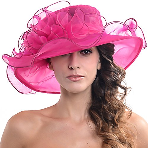 Women Kentucky Derby Church Dress Organza Hat Wide Brim Flat Hat (8 Colours) (SM019-Rose)
