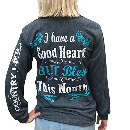 - Southern Attitude I Have a Good Heart But Bless This Mouth Heather Gray Long Sleeve Women's Shirt (Small)